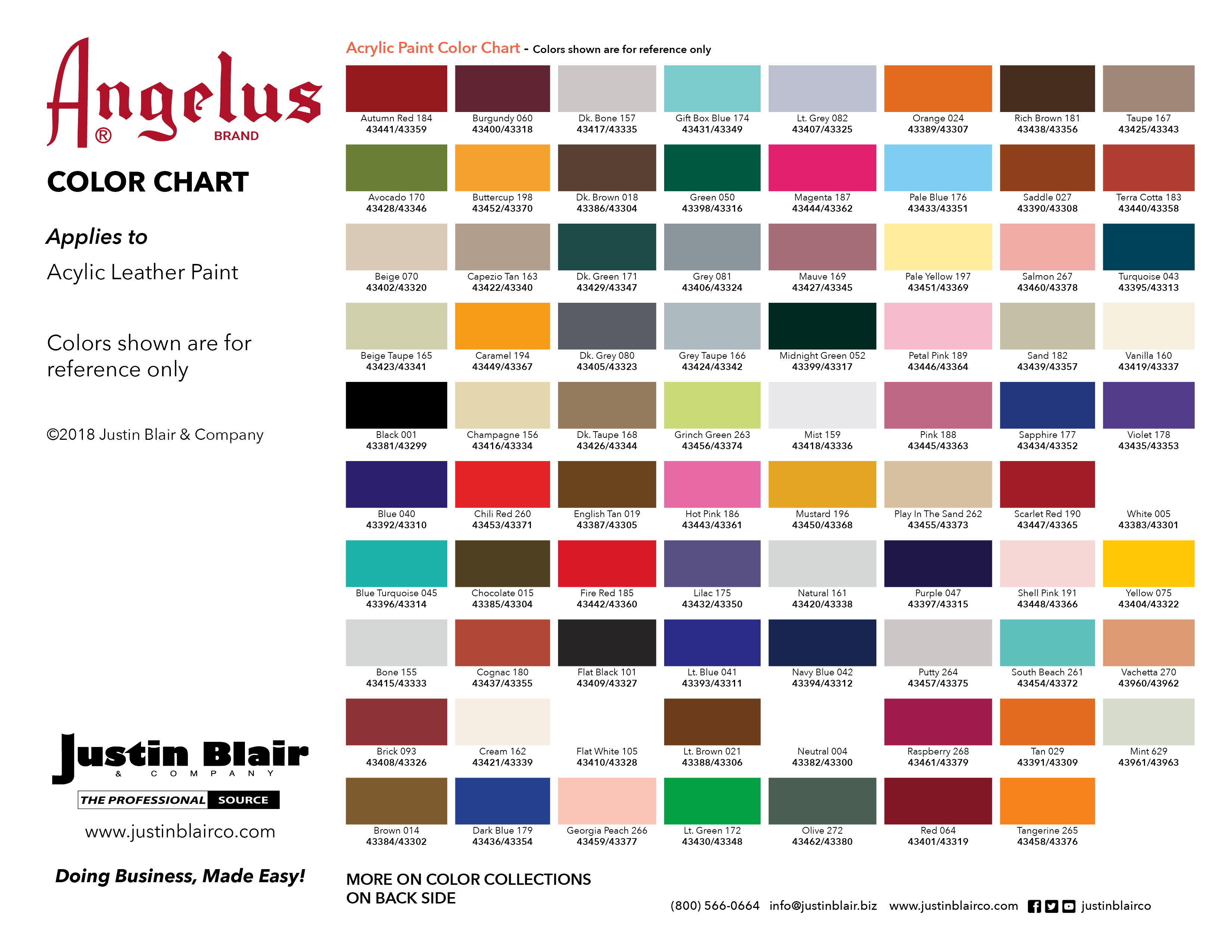 Angelus Acrylic Paint Color Chart