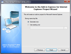 Add-in Express Project Wizard