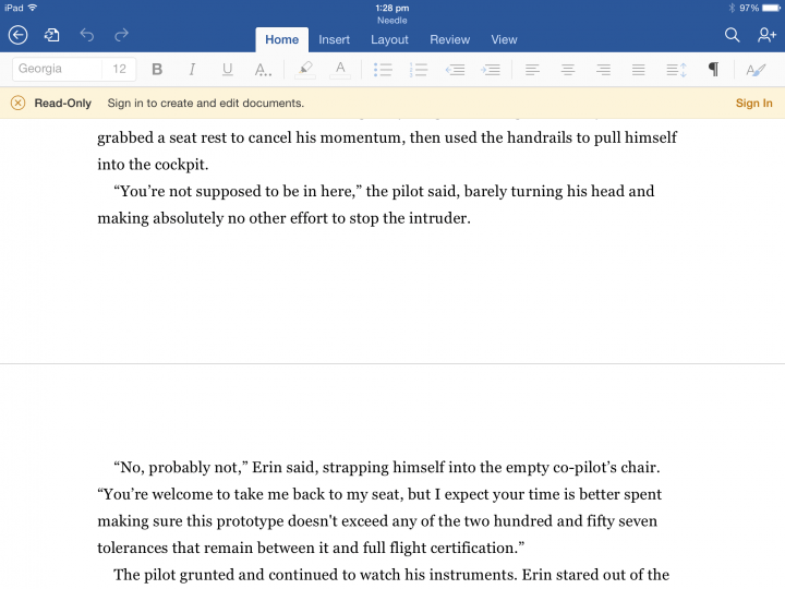 page break on iOS word