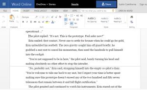 page break display on MS Word web app