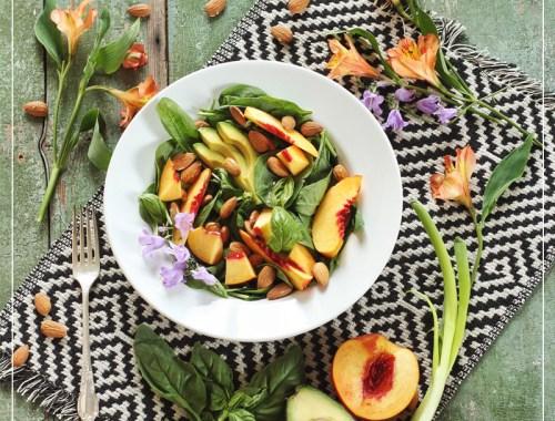 Nectarine Basil Salad with Pineapple Balsamic Vinaigrette // JustineCelina.com