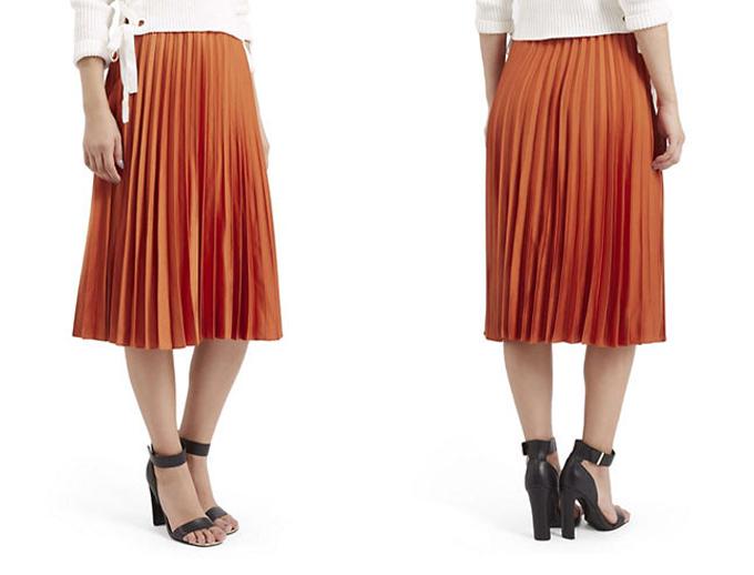 Colour Crush   Rust   Satin Pleated Midi Skirt Topshop // JustineCelina.com