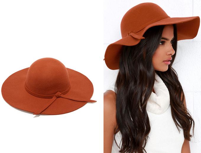 Colour Crush   Rust   Cascade Effect Rust Orange Floppy Hat Lulu*s // JustineCelina.com
