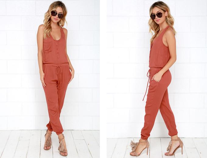 Colour Crush   Rust   Big City Dreams Rust Red Jumpsuit Lulu*s // JustineCelina.com