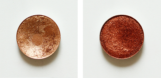 Urban Decay Eyeshadow in Half Baked Photos Review Swatches, Makeup Geek Foiled Eyeshadow in Flame Thrower Photos Review Swatches
