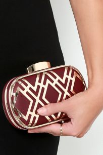 Time for Takeoff Gold and Oxblood Red Clutch