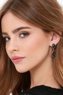 Astute Courtier Gold and Blue Rhinestone Earrings