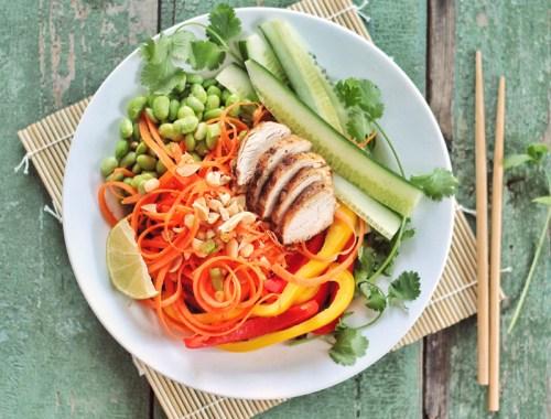 Tangled Thai Salad with Ginger Peanut Sauce // JustineCelina.com