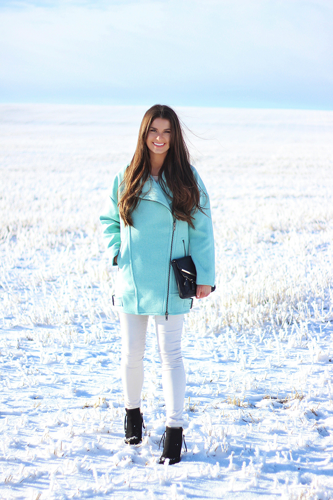 Minty Fresh   How to Wear Winter Pastels   Moto Cocoon Coat in Surf Spray // JustineCelina.com