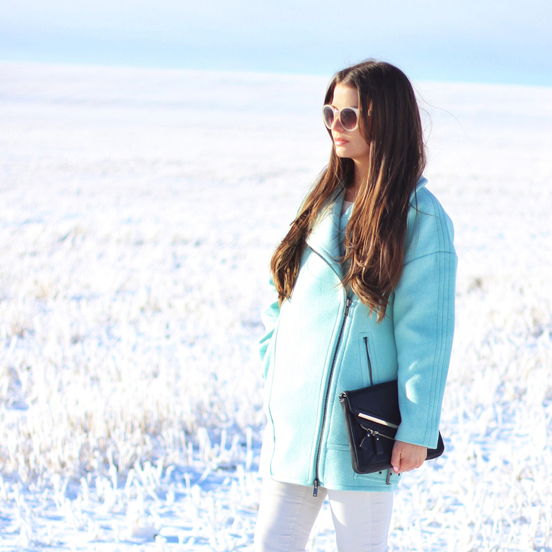 Minty Fresh | How to Wear Winter Pastels | Moto Cocoon Coat in Surf Spray // JustineCelina.com