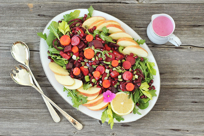New Year Detox Salad with Pink Tahini Dressing // JustineCelina.com