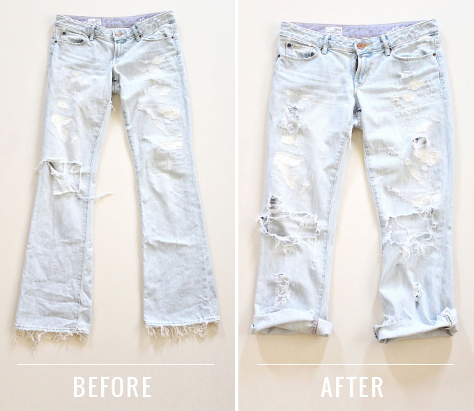 DIY | Distressed Boyfriend Jeans Before & After Photos