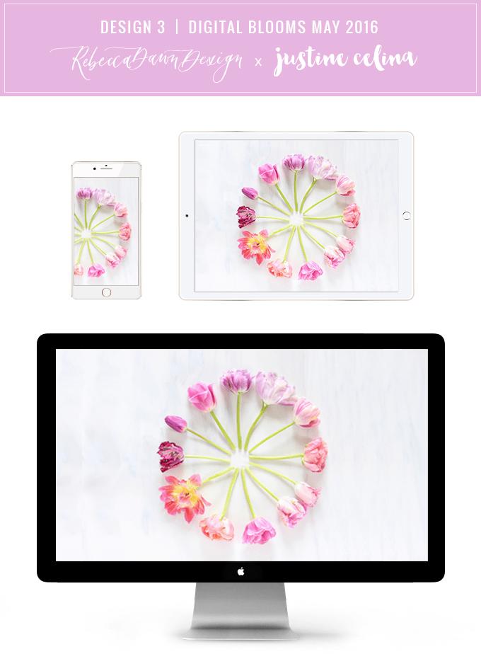 Digital Blooms Desktop Wallpaper 3 | May 2016 // JustineCelina.com x Rebecca Dawn Design