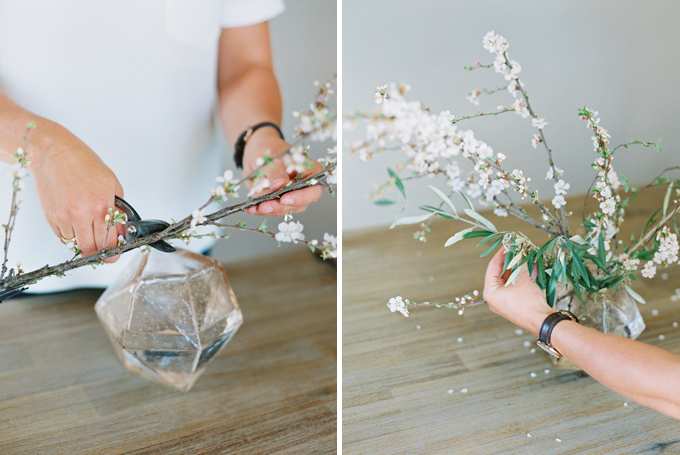 DIY | How to Make a Summer Flower Arrangement with Rebecca Dawn Design | Using Foliage to Create Your Shape | Nanking Cherry & Olive Branches // JustineCelina.com