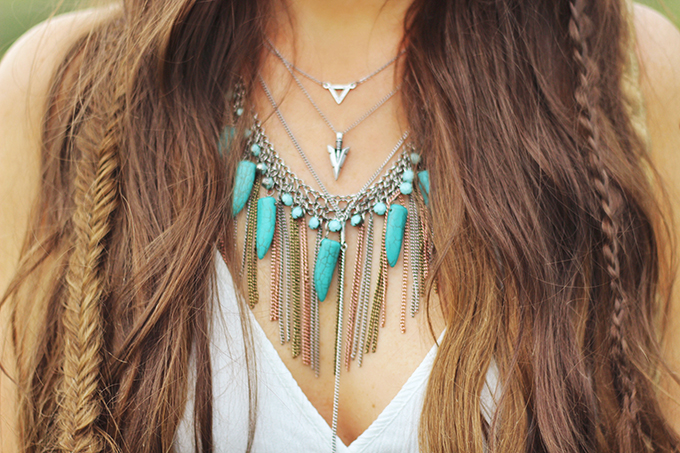 What to Wear to | The Calgary Stampede | Vintage Turquoise and Silver Layered Necklaces // JustineCelina.com
