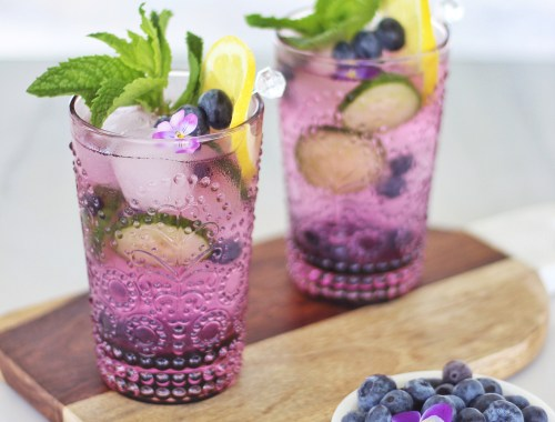 Blueberry Lemon and Cucumber Gin Mojitos // JustineCelina.com