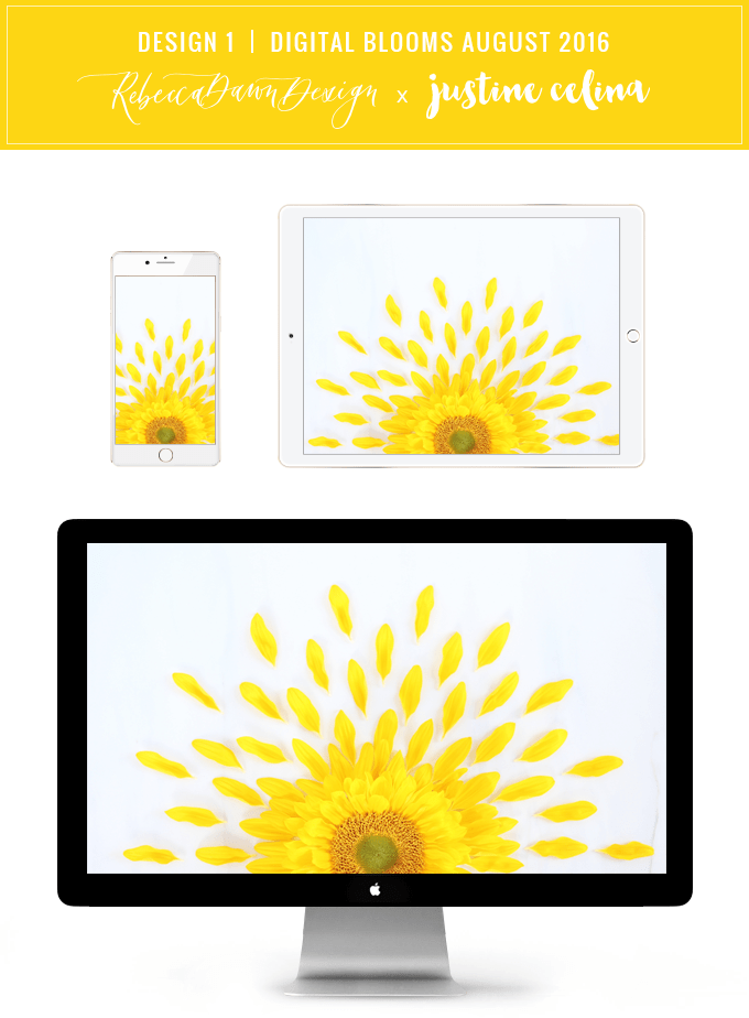 Digital Blooms Desktop Wallpaper 1 | August 2016 // JustineCelina.com x Rebecca Dawn Design