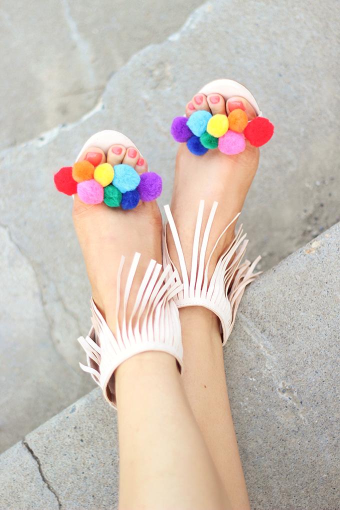 Shoes of Summer + End of Season Sales   DIY Pompom Sandal // JustineCelina.com