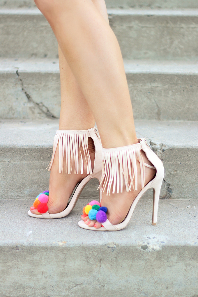 Shoes of Summer + End of Season Sales | DIY Pompom Sandal // JustineCelina.com