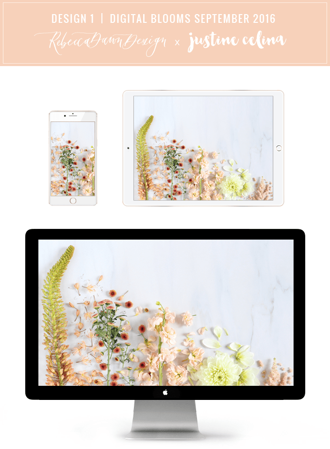 Digital Blooms Desktop Wallpaper 1 | September 2016 // JustineCelina.com x Rebecca Dawn Design