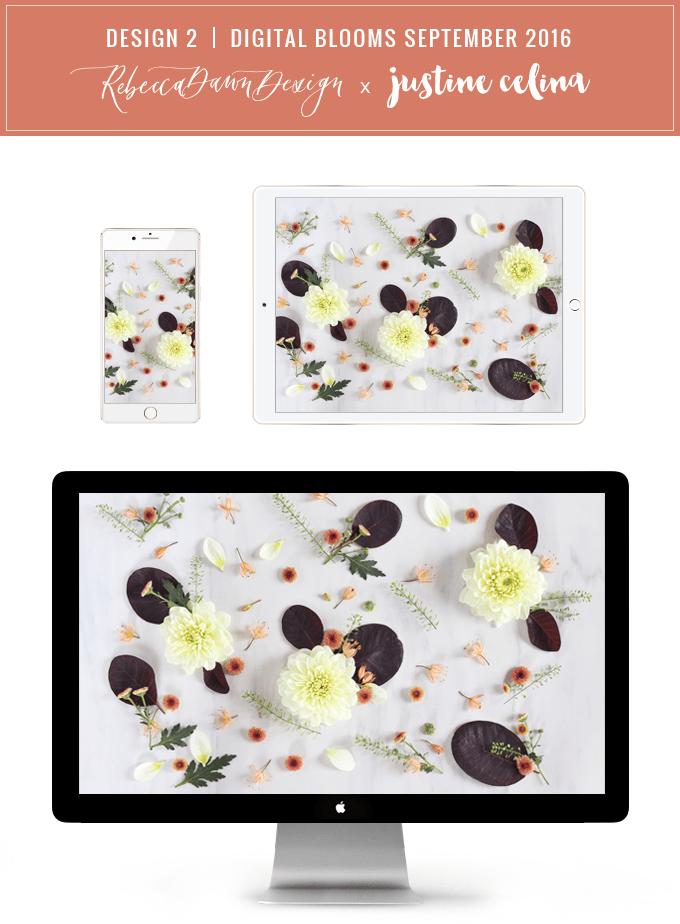 Digital Blooms Desktop Wallpaper 2   September 2016 // JustineCelina.com x Rebecca Dawn Design