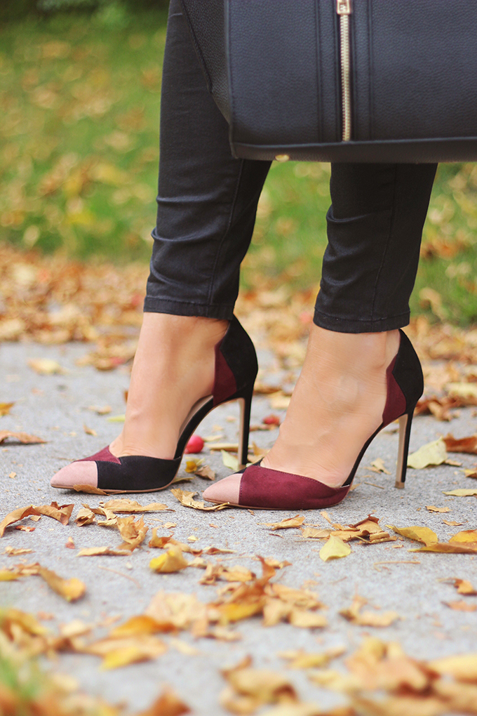 Pre Fall Transitional Style | Zara Contrast High Heel Shoes // JustineCelina.com