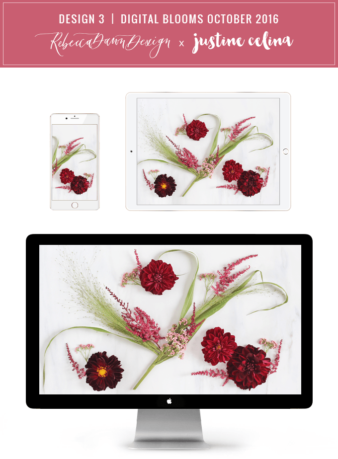 Digital Blooms Desktop Wallpaper 3 | October 2016 // JustineCelina.com x Rebecca Dawn Design
