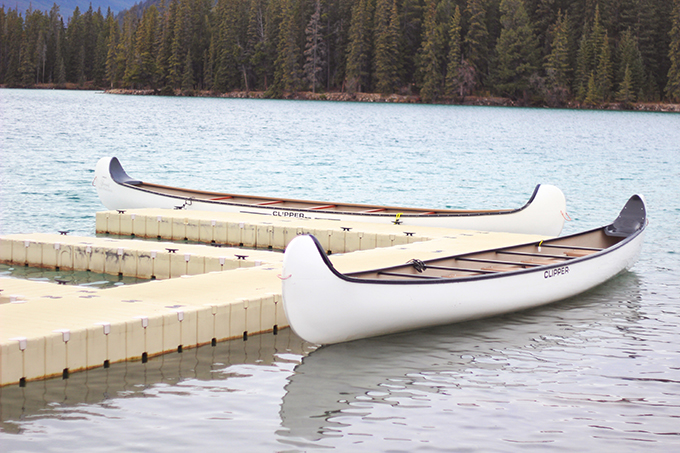 Fairmont Jasper Park Lodge | Canoes on Beauvart Lake // JustineCelina.com