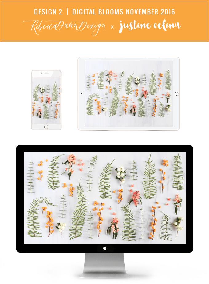 DIGITAL BLOOMS OCTOBER 2016 | FREE TECH WALLPAPERS | Design 2 // JustineCelina.com