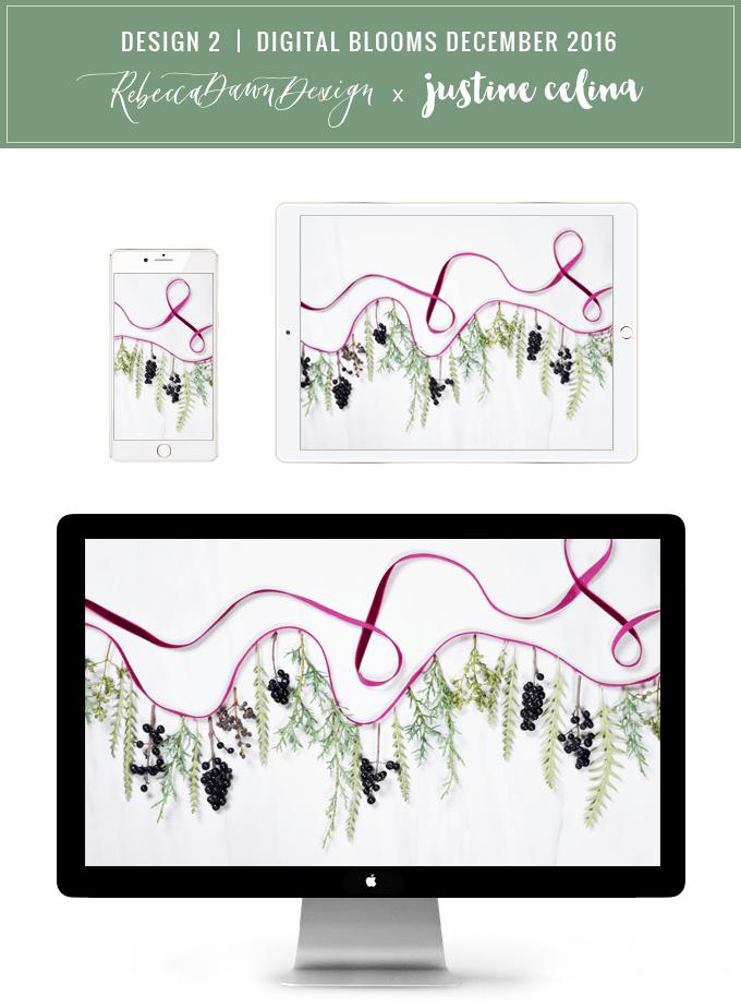 DIGITAL BLOOMS DECEMBER 2016 | FREE TECH WALLPAPERS | Design 2 // JustineCelina.com