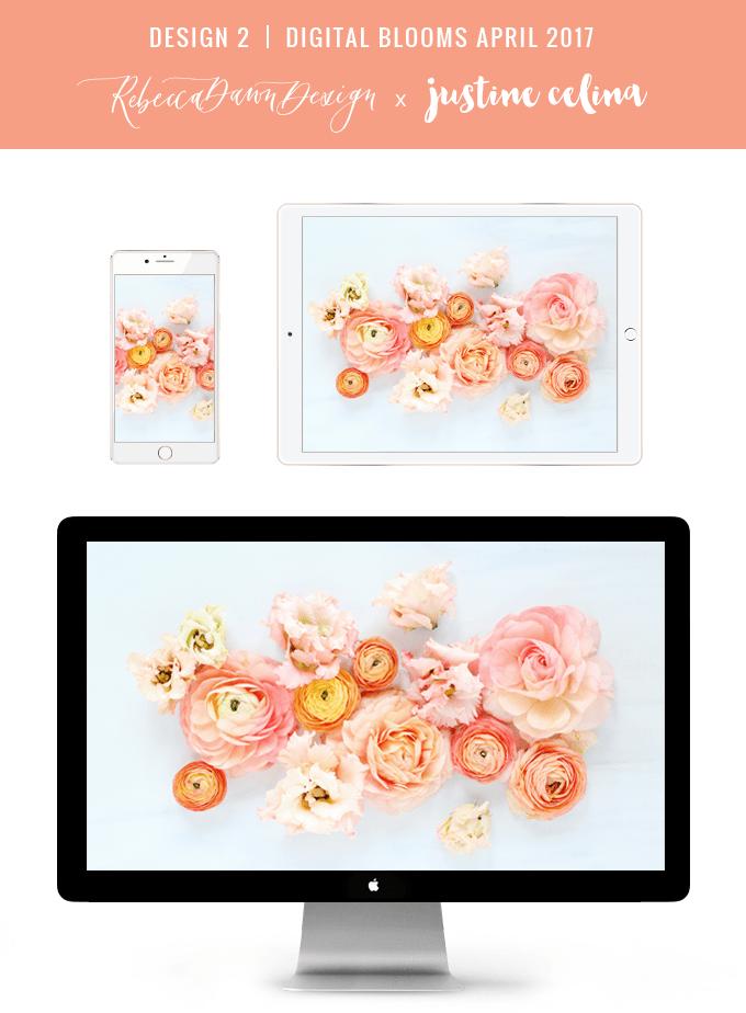 Digital Blooms April 2017 | Free Desktop Wallpapers + Digital Blooms Turns 1! // JustineCelina.com x Rebecca Dawn Design | Design 2