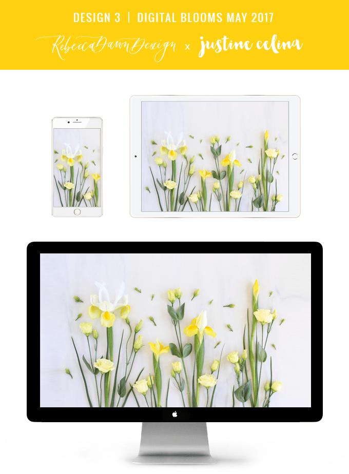 Digital Blooms May 2017 | Free Desktop Wallpapers | Design 3 // JustineCelina.com x Rebecca Dawn Design