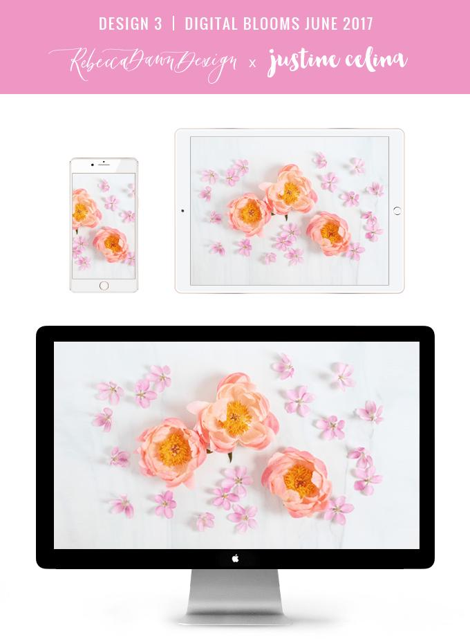 Digital Blooms June 2017 | Free Desktop Wallpapers | Design 3 // JustineCelina.com x Rebecca Dawn Design