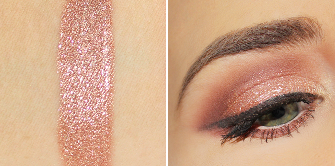 stila Magnificent Metals Glitter & Glow Liquid Eye Shadow in Rose Gold Retro Photos, Review, Swatches // JustineCelina.com