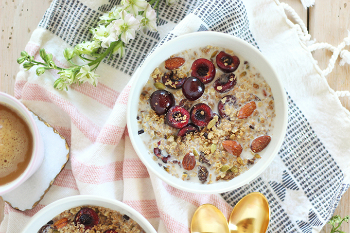 Protein Packed Cherry Almond Granola | How to Make Granola | Healthy Homemade Granola // JustineCelina.com