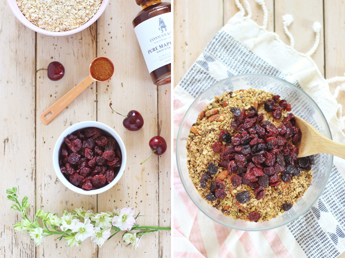 Protein Packed Cherry Almond Granola   How to Make Granola   Healthy Homemade Granola // JustineCelina.com