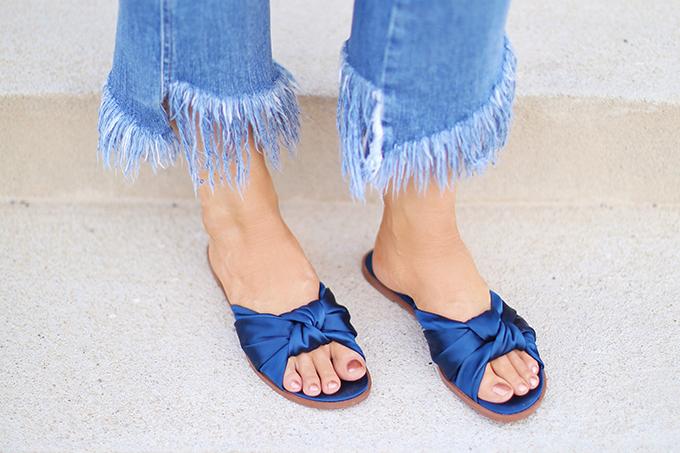 SUMMER 2017 MEGA SHOE GUIDE   30 PAIRS!   Zara Satin Bow Slides in Blue // JustineCelina.com