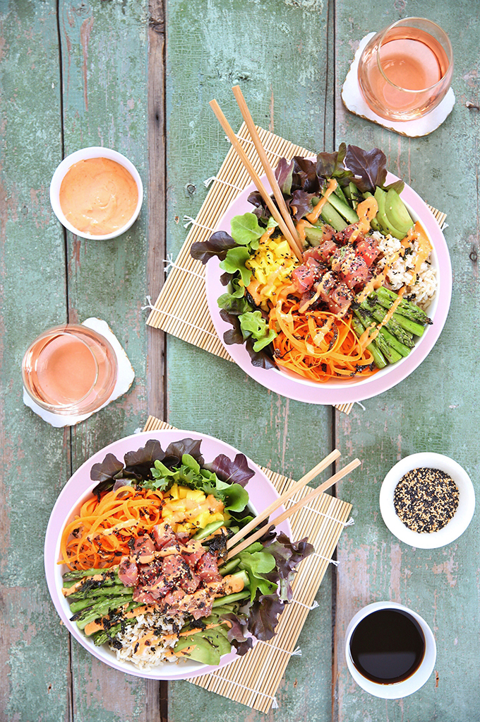 Ahi Tuna Poke Bowl with Citrus Ponzu & Sriracha Aioli | #sponsored by Inspired Greens #dairyfree #glutenfree #sustainable // JustineCelina.com