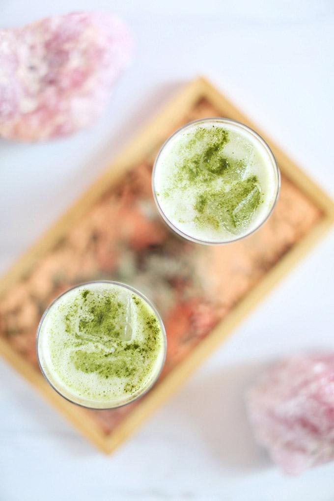 Iced Coconut Ginger Matcha Lattes   #Sponsored by Kiwami Greens // JustineCelina.com #vegan #glutenfree #refinedsugarfree