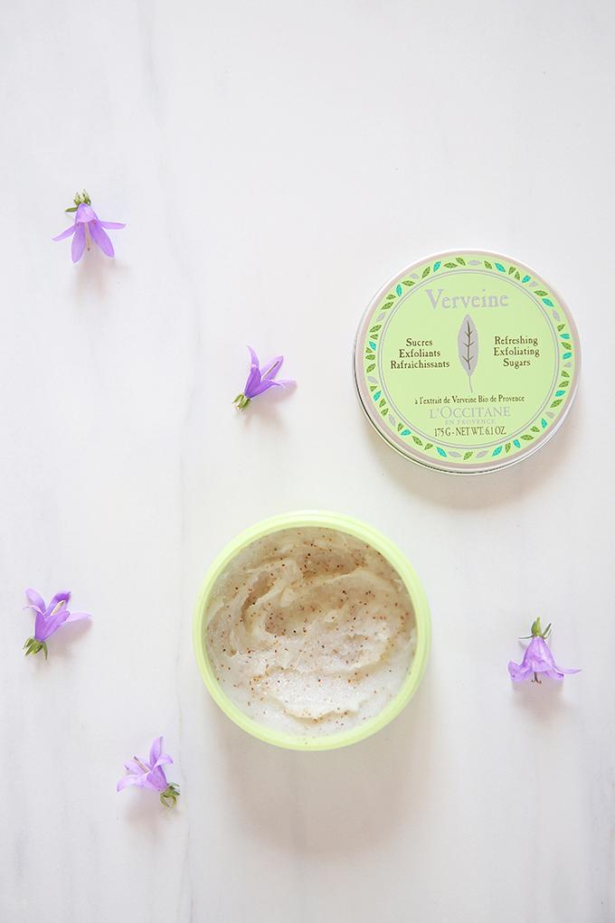 L'Occitane Verveine Refreshing Exfoliating Sugars Photos, Review // JustineCelina.com