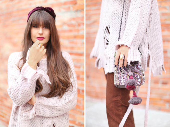 How to Style   Oversized Knits   Winter/ Spring 2018   Dean Davidson Ornate Ring // JustineCelina.com