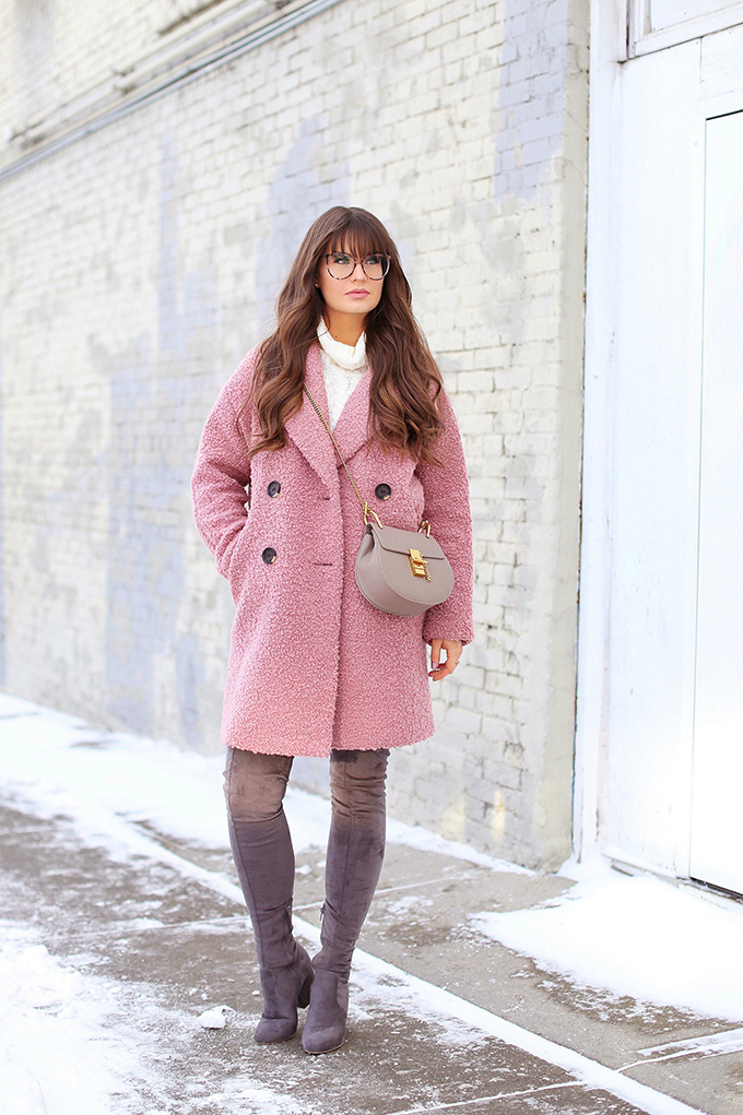 Blush Crush | How to Style Millennial Pink & Blush Hues | Winter / Spring 2018 | Topshop Alica Boucle Wool Blend Coat Pink// JustineCelina.com