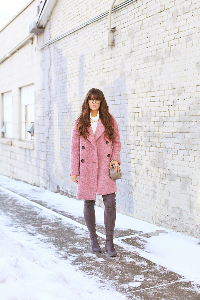 Blush Crush   How to Style Millennial Pink & Blush Hues   Winter / Spring 2018   Topshop Alicia Boucle Wool Blend Coat Pink // JustineCelina.com