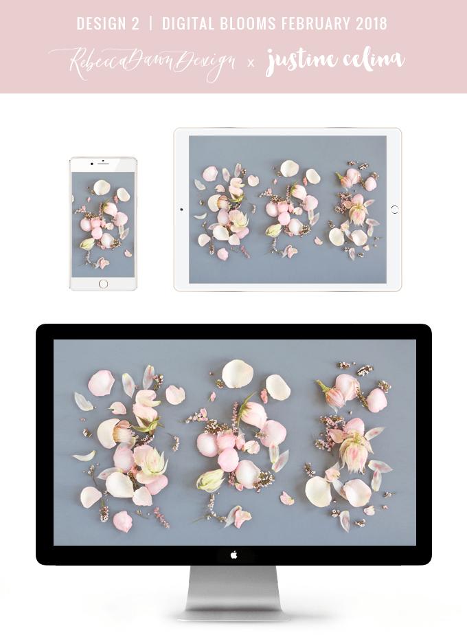 DIGITAL BLOOMS FEBRUARY 2018 | Free Blush Floral Desktop Wallpapers for Valentine's Day | Design 2 // JustineCelina.com x Rebecca Dawn Design