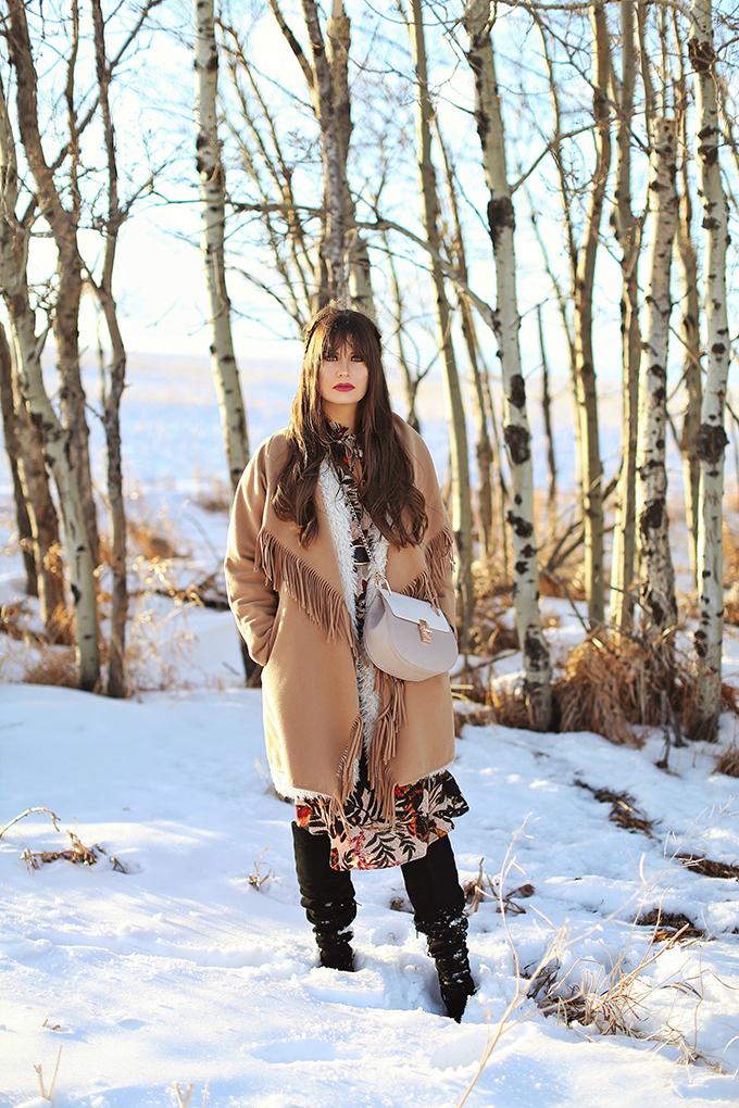 How to Style | Midi Dresses for Winter 2018 | Best Chloe Drew Bag Dupes | Calgary Fashion Blogger, Wheatland County, Alberta Badlands // JustineCelina.com