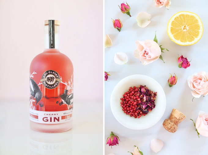 Rose Infused Cherry Gin Fizz   Featuring Eau Claire Distillery Artisanal Cherry Gin + The Silk Road Spice Merchant Rose Petal and Pink Peppercorn   Calgary, Alberta Lifestyle + Food Blogger // JustineCelina.com