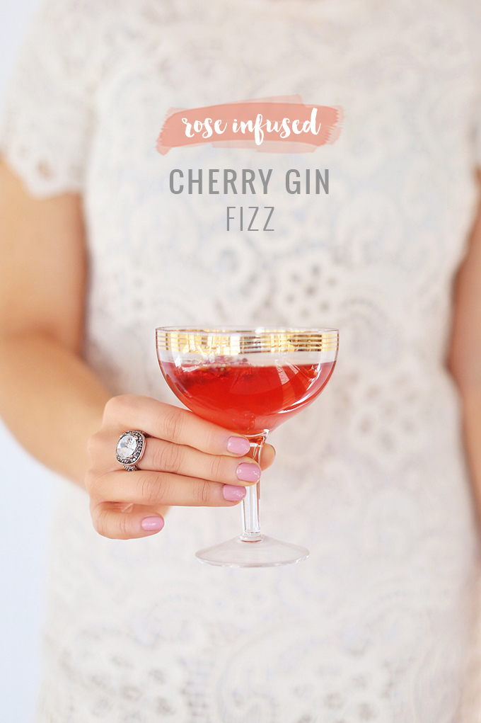 Rose Infused Cherry Gin Fizz | Featuring Eau Claire Distillery Artisanal Cherry Gin + The Silk Road Spice Merchant Spices | Calgary, Alberta Lifestyle + Food Blogger // JustineCelina.com