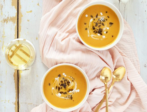 Truffled Butternut Squash Soup with Crispy Sage | Sofritto Calgary White Truffle Oil | #vegan #glutenfree #dairyfree // JustineCelina.com