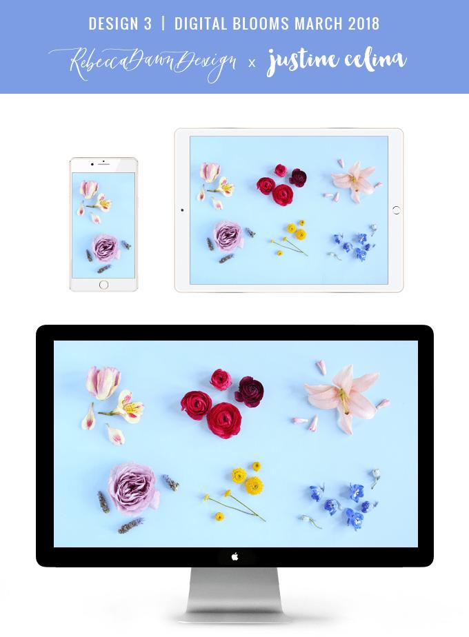 Digital Blooms March 2018 | Free Pantone Inspired Desktop Wallpapers for Spring | Design 3 // JustineCelina.com x Rebecca Dawn Design