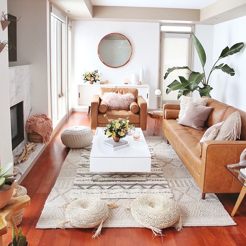 Living Room Reveal in Partnership with HomeSense Canada | A Bohemian, Mid Century Modern Apartment in Calgary, Alberta, Canada // JustineCelina.com